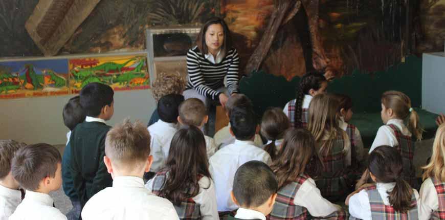 Grade 5 students and homeroom teacher