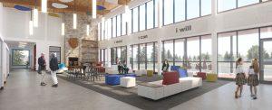 Rendering of the campus south atrium
